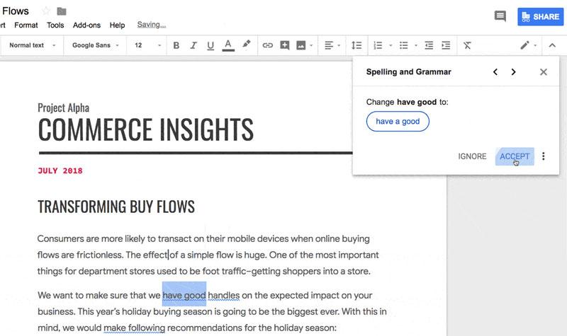 У Google Docs для бізнесу (G Suite) додали AI для перевірки граматики - community
