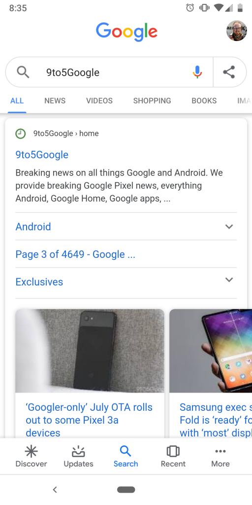 У додатку Google для Android з'явилася можливість поділитися посиланням на запит - news