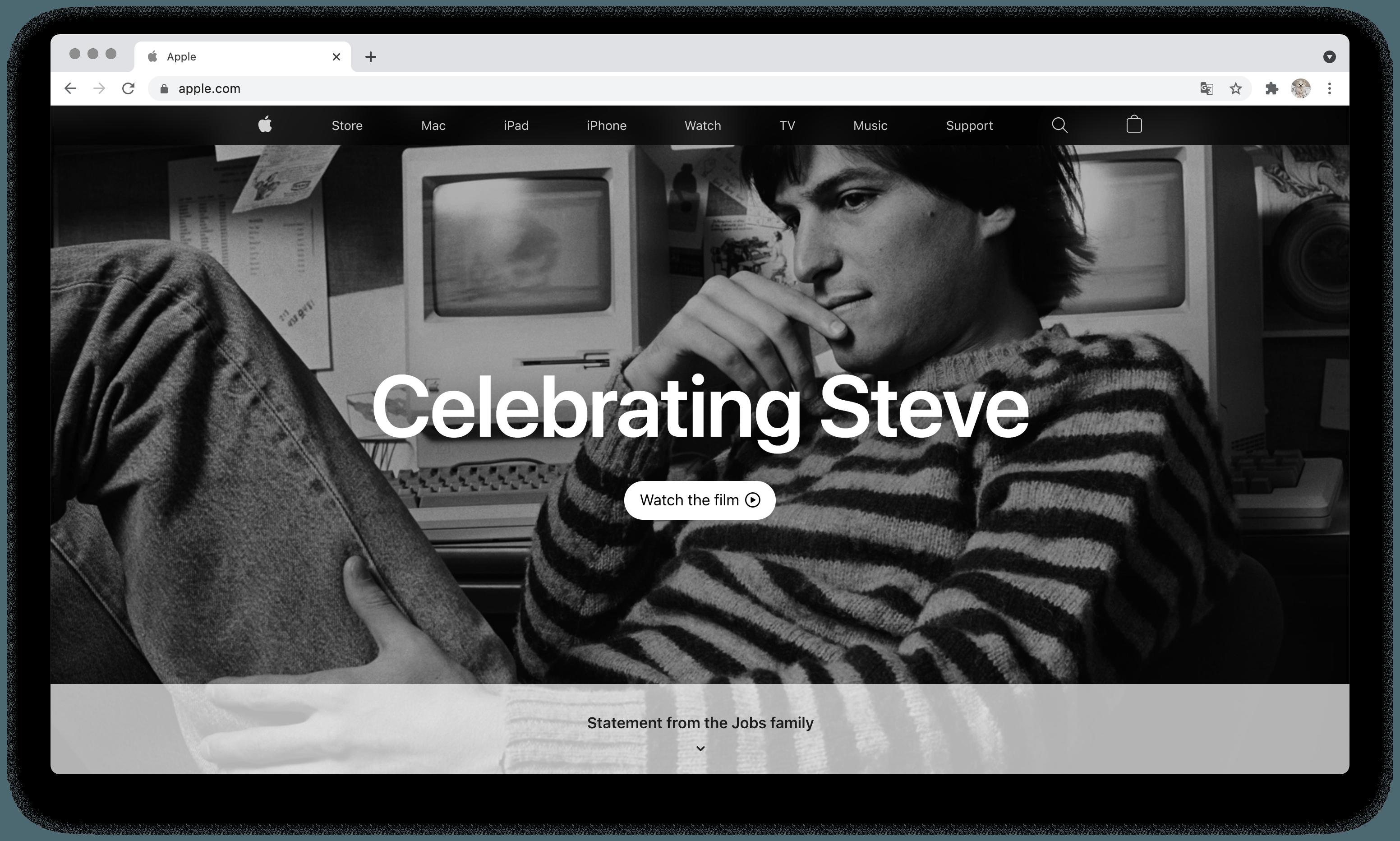 Apple вшанувала пам'ять Стіва Джобса, присвятивши йому головну сторінку сайту - news, people, story